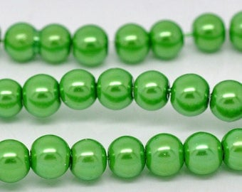 Pearly beads 6 MM round - beads - round Apple green