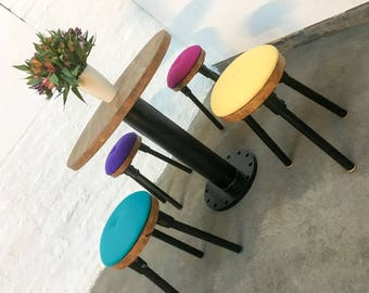 Button Industrial Style Chestnut Stained and Black Powder Coated Steel Pedestal Table with 4 stools upholstered in premium pure new wool