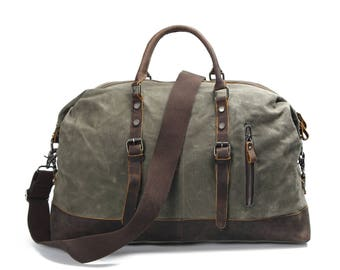Leather Canvas Duffel Bag