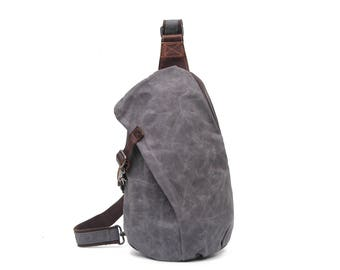 Leather & Waxed Canvas Crossbody (Grey)