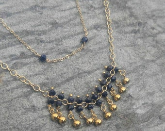 Sapphire and Gold Layering Necklace-fringe design