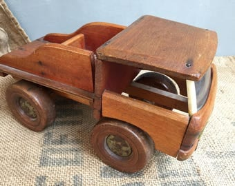 Old wooden Dejou, old toy truck