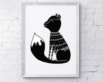 Hand drawn, monochrome, wooly fox, Printable, Scandinavian style Art, digital download
