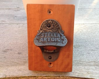 Stella Artois bottle opener set on Cherry wood back