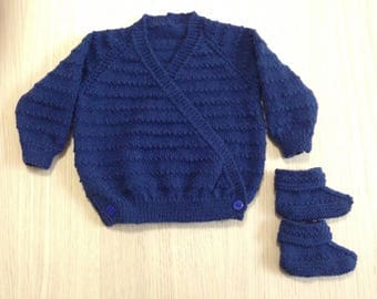 Baby Crossover Cardigan with matching booties