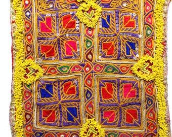 Vintage Banjara Neck Yoke Full of Zari Work and Mirror Embroidery Neck Yoke Vintage fabric Hand Embroidered Patch Bohemian Style