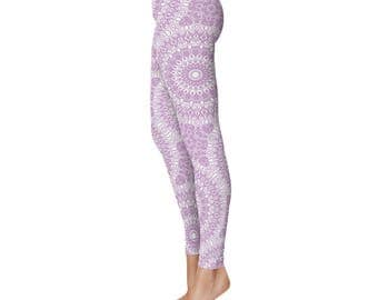 Lilac Leggings, Lavender Leggings, Purple and White Printed Yoga Pants, Yoga Leggings for Women
