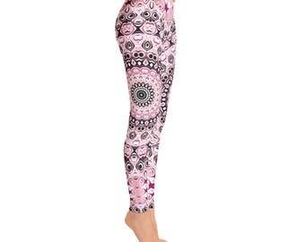 Printed Leggings Pants - Mid Rise Yoga Leggings, Mandala Leggings in Pink and Black, Yoga Pants Women's Clothing