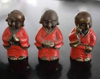 "3x Buddha ""Meditation - Prayer - Thought"" Brass Ornaments"