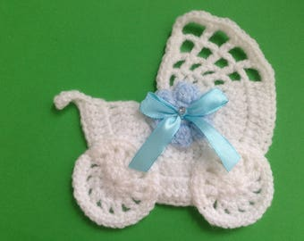 Crochet stroller,pushchair applique,embellishment,motif,sewing,for baby blankets,craft,pale blue