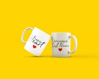 Engagement mugs, newlywed mugs, engagement gift, newlywed gifts, Mr and Mrs gift, wedding gift, anniversary gift, wedding mugs, engagement