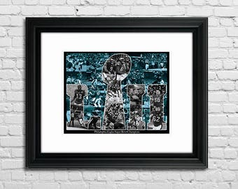 Philadelphia Eagles, Super Bowl Champions, Philadelphia, Art Collage, Limited Edition, 11x14