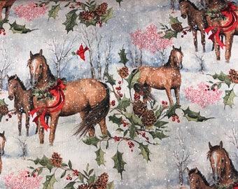 Winter snowy horse scene fabric, horse fabric, forest animals fabric, animal fabric, snowy fabric, Christmas fabric, horses, holiday, winter