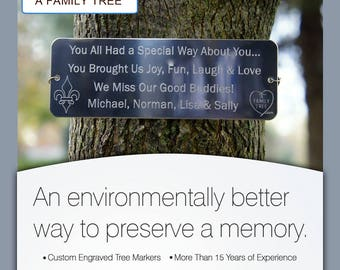 Tree Tag-Engraved Tree Plaque-PersonalizedTree Marker-Tree Dedication-Memorial Tree Markers - FREE SHIPPING