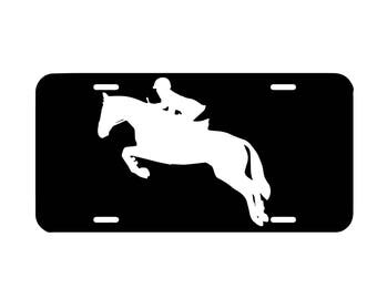 Jumping horse license plate, front car license plate, cute car tag, girly car accessory, vanity plate, equestrian, hunter jumper, english