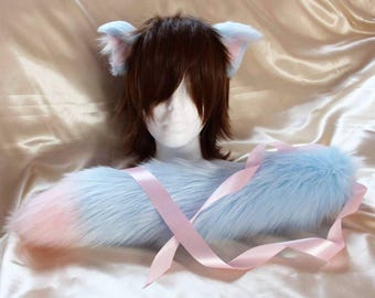 Luxury Baby Blue and Baby Pink Kitten Neko Ear and Tail Set