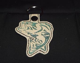 Big Mouth Bass Fish key fob key chain zipper pull bag tag. Fisherman Gift