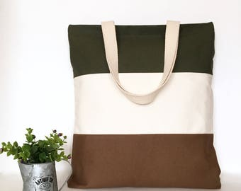 Three Panel Canvas Tote Bag, 3 Panel Canvas Tote Bag, Minimal Canvas Tote Bag, Canvas bag, School Tote Bag, Canvas tote bag with zipper