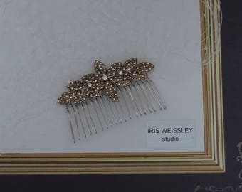 Ivory birdcage veil, art deco wedding comb, antigue gold diamante  bridal hair comb, wedding fascinator, 1950s-1960s vintage style - WV52