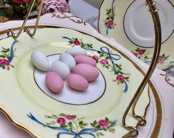 Utterly Beautiful Roses, Ribbons & Bows Vintage Colclough Sweet Basket, Sugar Basket, Candy Basket