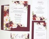 Marsala Wedding Invitations - Burgundy Winter - Wedding Invitations - Rustic Script Collection Sample Set