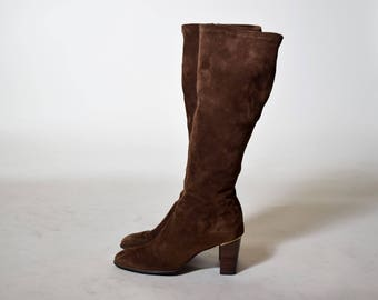 Authentic vintage 1960's brown Suede GoGo boots Joyce of California with stacked wooden heel women's US size 6.5