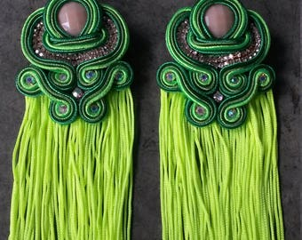 pending soutache with neon green fringe