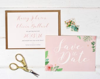 Floral Wedding Save The Date - Pretty Pink Wedding Save the Date - Wedding Stationery - Invitation Suite - Save the Date