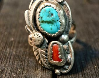 Vintage Native American Sterling Silver/ Turquoise & Coral Ring   #040