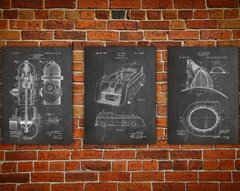 Firefighter Decor, Patent Print Poster Group, Firefighter Wall Art, Fireman Patent Prints, Fireman Art Gift idea Set of 3