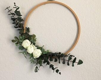 Eucalyptus wreath embroidery hoop