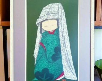 Kaoru Kawano Dancing Figure Woodblock Print