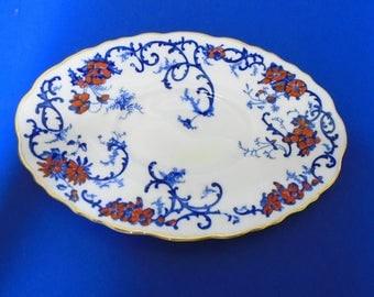 Royal Cauldon Shangri-La hand painted V9764  UNDER PLATE UNDERPLATE For Gravy Boat cobalt blue enamel red paint antique plate