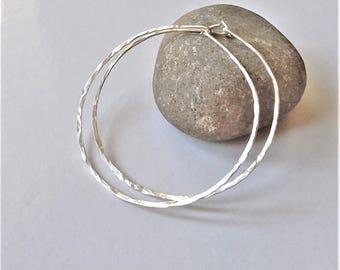 Silver Thin Hoop Earrings, Large Lightweight Hoop Earrings, Minimalist Earrings, Sterling Silver Hoop Earrings, Silver Hoops.