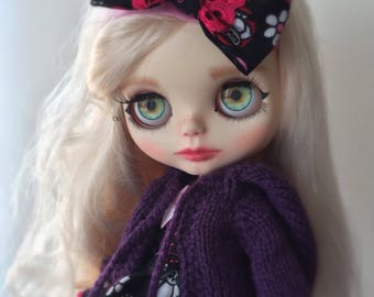 Blythe doll hand knitted purple hooded jacket