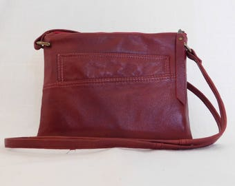 Red refashioned leather cross body bag