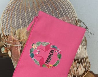 Pink faux leather pouch custom color