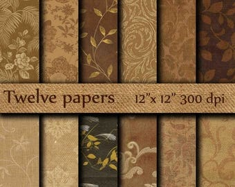 """40% OFF Autumn Digital Papers: """"AUTUMN PAPERS"""" autumn leaves , fall papers , brown leaves , vintage papers"""