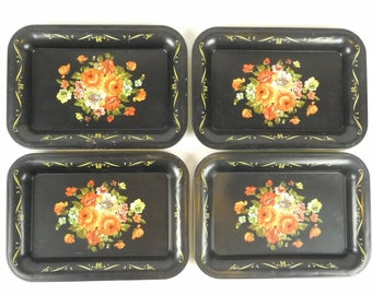 Lot of 4 Small Tin Metal Toleware Folk Art Trays Painted Flowers Floral Serving Change Coins Display Decor Wall Art