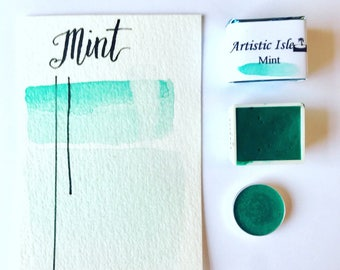Mint, teal, turquoise, handmade paint, watercolor, painting, art, calligraphy