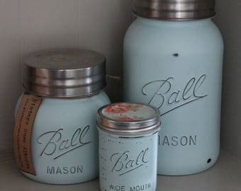 Turquoise Mason Jar Kitchen Canisters - Rustic Kitchen - Shabby Chic Kitchen - Mint - One Gallon - Cookie Jar - Christmas Cookies