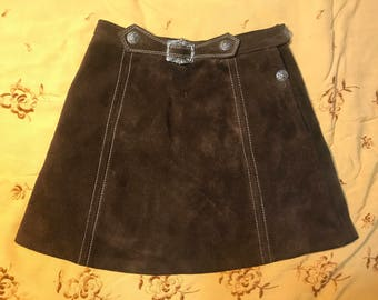 Authentic 60's Vintage Leather Miniskirt