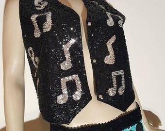 Festival musical disco sequin vest Unisex vest black silver funky rave dance vest beaded and sequined mardi gras Costume accessories