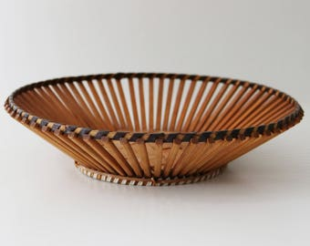 1970s mid century bamboo fruit bowl basket