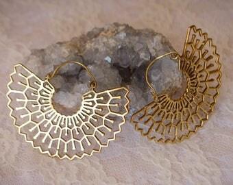 Large tribal geometric hoops. Brass earrings. Tribal fusion belly dance, statement, festival.