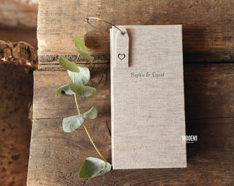 Guest book - linen - marriage advice - alternative guest book - personalized with letterpress