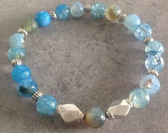 "Energized ""Anchor and luck"" bracelet in cyan blue and Brown faceted Agate and silver beads"