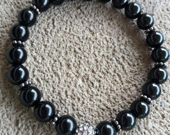 Energized bracelet Protection and well-being in onyx, Pearl Crystal from Austria high quality