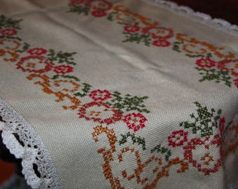 vintage embroidery hand crafted table runner crochet lace trim Belveder Handmade 100% viscose vintage table runner 96 cm long item /20