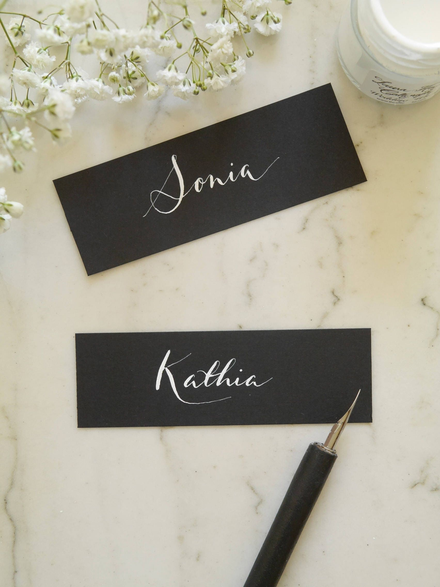 Handwritten calligraphy wedding place cards wedding chic name